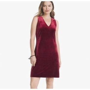 WHBM Burgundy Red Velvet Sheath Mini Dress Size 12